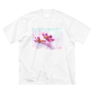 コスモス「どこまでも」透明水彩お花プリント Big silhouette T-shirts