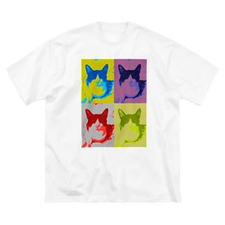 猫のハチワレハチくん 1 Big silhouette T-shirts