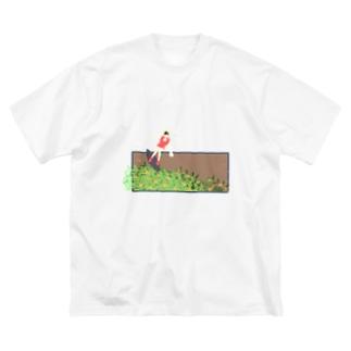 金木犀衝浪少女 Big silhouette T-shirts