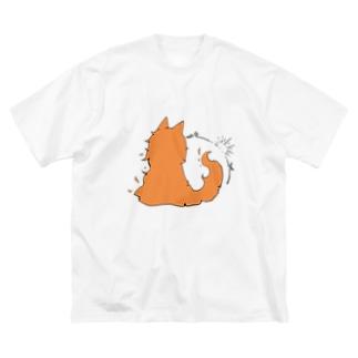 冒涜的な猫グア(背中色付き) Big silhouette T-shirts