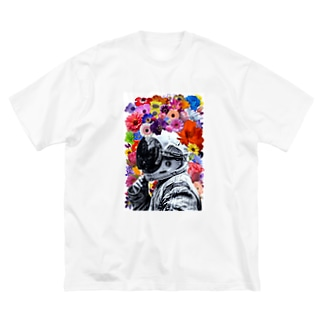 ASTRONAUT and FLOWERS Big silhouette T-shirts