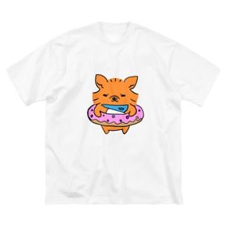 おにぎりやろうの犬のマグロくん Big silhouette T-shirts