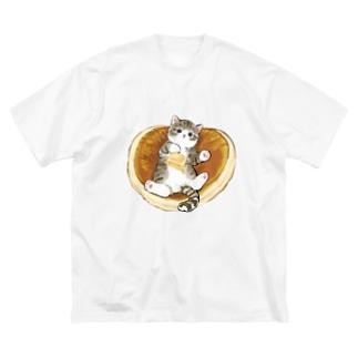にゃんこパンケーキ Big silhouette T-shirts