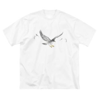 隼ファルコン【まめるりはことり】 Big silhouette T-shirts