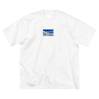 青い空 Big silhouette T-shirts