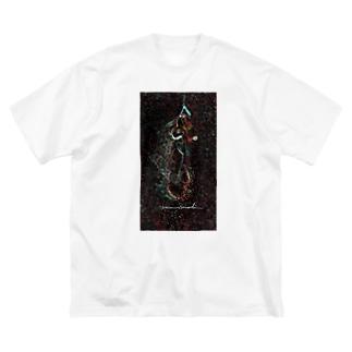 Akieem Zawadi's SHOPのSurfing  on the Milky Way Big silhouette T-shirts