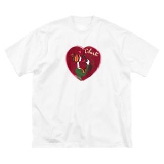 猫キッスレッド Big silhouette T-shirts