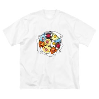 三密です!むちむち鳥まみれ【まめるりはことり】 Big silhouette T-shirts