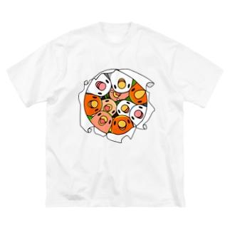三密です!むちむちコザクラインコさん【まめるりはことり】 Big silhouette T-shirts