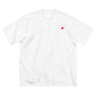 ハートにつかまる猫(ミニ) Big silhouette T-shirts