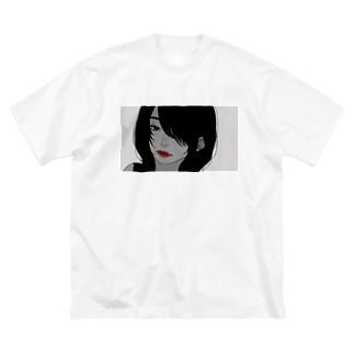 赤ルージュ(唇のみ色付き) Big silhouette T-shirts