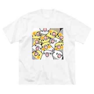 みっちりむっちり過密オカメインコさん【まめるりはことり】 Big silhouette T-shirts
