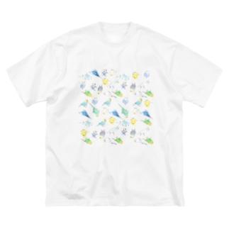めっちゃセキセイインコちゃん【まめるりはことり】 Big silhouette T-shirts