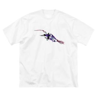 泳ぐ Big silhouette T-shirts