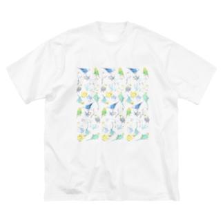 たくさんセキセイインコちゃん【まめるりはことり】 Big silhouette T-shirts
