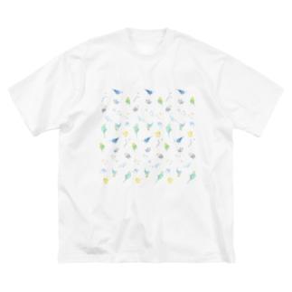いっぱいセキセイインコちゃん【まめるりはことり】 Big silhouette T-shirts