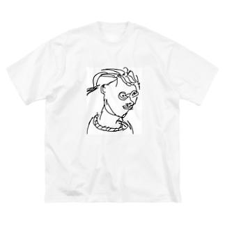 田舎のおばちゃん Big silhouette T-shirts