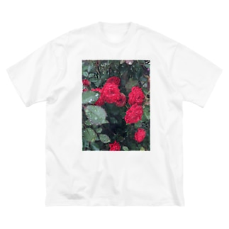 赤いお花 Big silhouette T-shirts