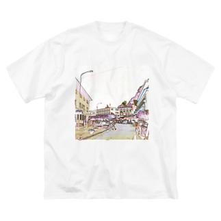 CG絵画:ファドゥーツの街角風景 CG art: view of Vaduz Big silhouette T-shirts