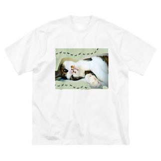 老猫にゃあ Big silhouette T-shirts