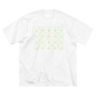 屋根裏ひみつ結社のうさぎ いっぱい WAROLIER-ワロリエ- Big silhouette T-shirts