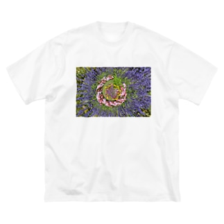 ぐるぐる花々 Big silhouette T-shirts