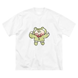 困ったカエルちゃん Big silhouette T-shirts