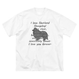 シェットランドシープドッグ Big silhouette T-shirts