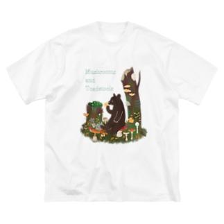 きのことクマ Big silhouette T-shirts