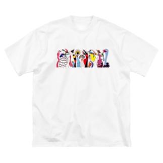 トリダラケ Big silhouette T-shirts
