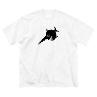 笑うノコギリザメ Big silhouette T-shirts