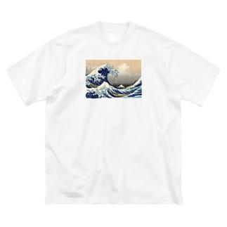 神奈川沖浪裏 THE GREAT WAVE Big silhouette T-shirts