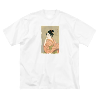 ビードロを吹く娘 utamaro Big silhouette T-shirts