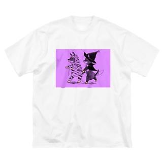 マミーマメヒコ&マジカルクロスケ(ダークハロウィンナイト Big silhouette T-shirts