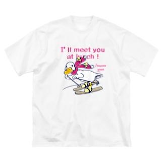 CT75あひるのおひるさんのスキーA Big silhouette T-shirts