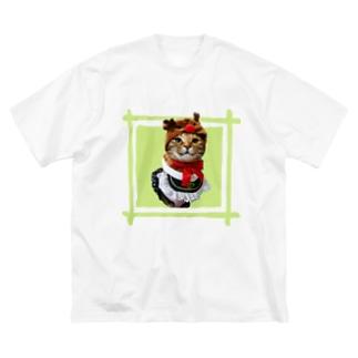 猫プリンちゃんクリスマスver Big silhouette T-shirts