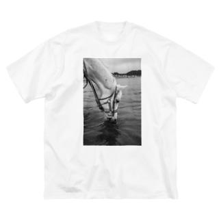白い馬 ビーチ 白黒写真 Big silhouette T-shirts