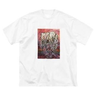 象さん Big silhouette T-shirts