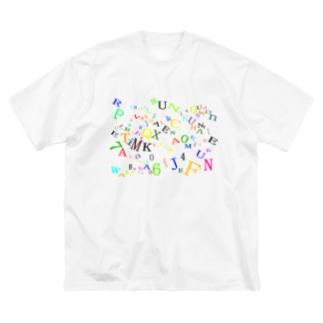 アルファベットと数字の洪水4 Big silhouette T-shirts
