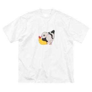 エビフライと鳩 Big silhouette T-shirts