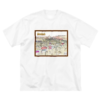CG絵画:マラケシュのジャマ・エル・フナ市場 CG art: Jemaa el-Fnaa of Marrakesh Big silhouette T-shirts