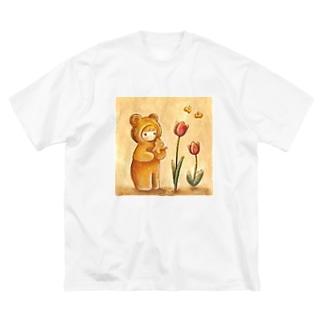 クマちゃんとチューリップ Big silhouette T-shirts