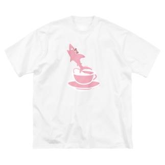 ティーカップとSAME/サメ Big silhouette T-shirts