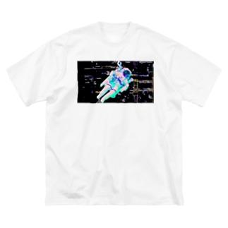 電脳遊泳 Big silhouette T-shirts