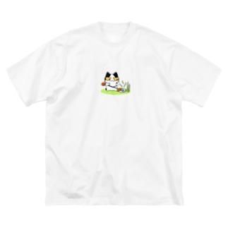 草刈り猫 Big silhouette T-shirts