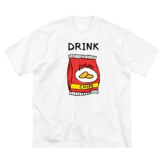 ポテチは飲み物 Big silhouette T-shirts