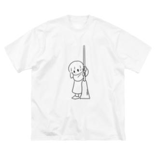 そうじするおんなのこ Big silhouette T-shirts