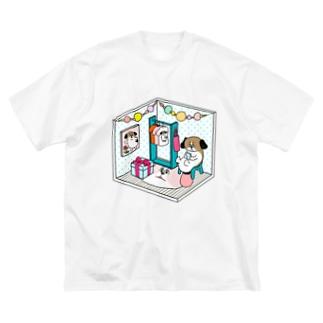 もじゃまるくつろぎ Big silhouette T-shirts