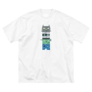 西の妖怪トーテムポール Big silhouette T-shirts