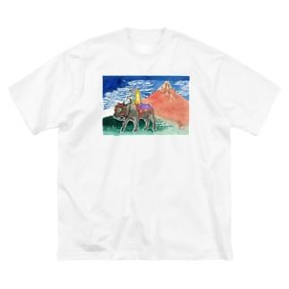 アマビエ✖️北斎パロ [凱風快晴] Big silhouette T-shirts